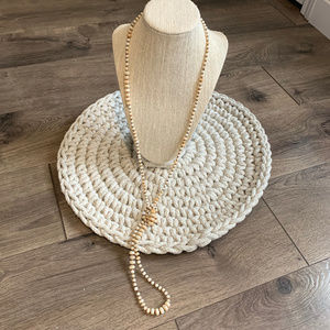 Avenue Long Cream Beaded Necklace